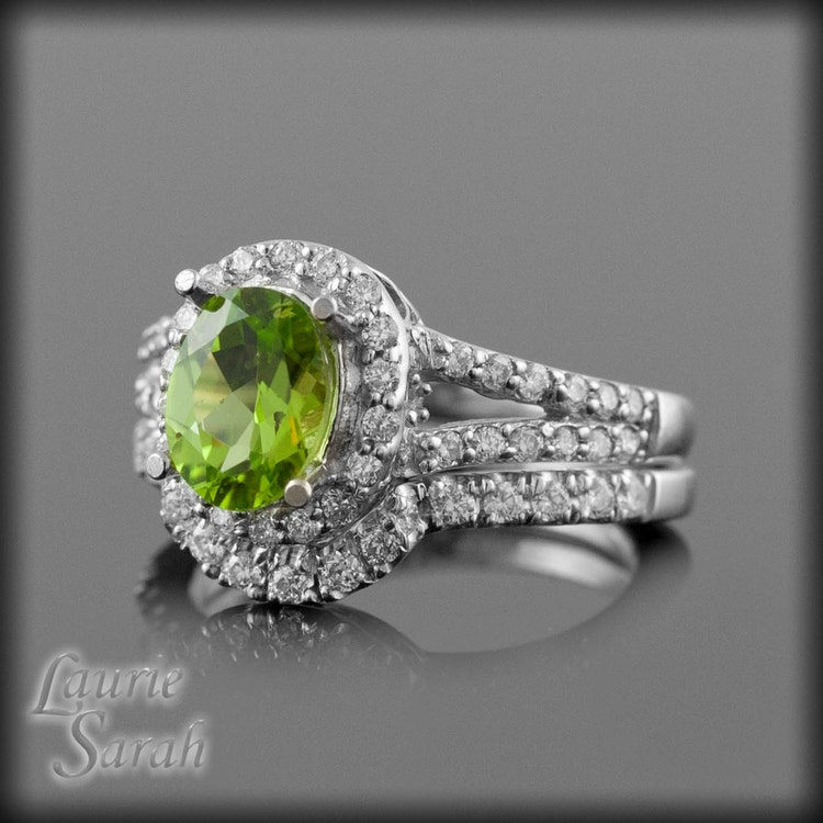 Engagement ring oval peridot wedding set by lauriesarahdesigns for Peridot wedding ring set