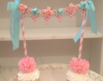 Birthday Decoration Shabby Chic Cake Bunting for Birthday Party and Scrapbook Decoration