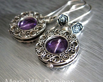 Purple Amethyst-Balinese Silver Rosebud Dangle Earrings