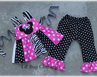 Custom Boutique Clothing Minnie Mouse Zebra Dots Hot Pink Jumper Top and Capris