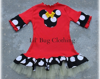 Custom Boutique Red Comfy Knit Short Sleeved Black White Jumbo Dot Minnie Mouse Dress Yellow Bow And Tulle