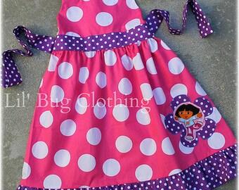 Dora The Explorer Girls Dress, Dora The Explorer Girls Birthday Party Dress, Boutique Girl Clothes, Dora Toddler Dress