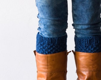 Blue boot cuffs knit boot toppers leg warmers knit boot socks gift under 30 womens accessories