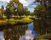 Winding Creek - Giclee Fine Art PRINT matted 12x12 by Jan Schmuckal