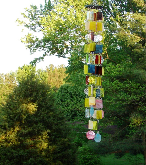 Sunshine -- Stained Glass --  Colored Glass -- Wind Chimes -- Sun Catcher -- OOAK