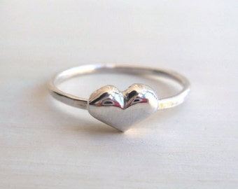 Heart Ring - Sterling Silver - Custom - Tiny Heart - Delicate - Hammered - Valentine - Handmade - Mini - Sweet Heart RIng - Stackable Ring