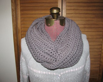 Warm winter Gray infinity cowl scarf