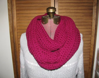 Berry red infinity cowl scarf