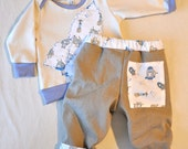 Rockets Baby Boy Set - Newborn - Top and Pants - Winter - Aliens Space