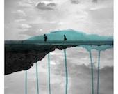 Deux (Landscape Photography - Fine Art Print - Beach and Rocks - Silhouette - Children - Watercolor paints - Black and white - Cyan)