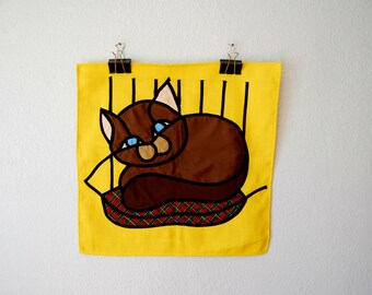 vintage 1980s CAT KITTEN sunshine yellow wall hanging