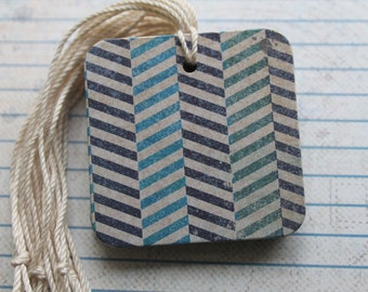 25 Gift tags Distressed Chevron blues paper over chipboard...25 prestrung chipboard Tags