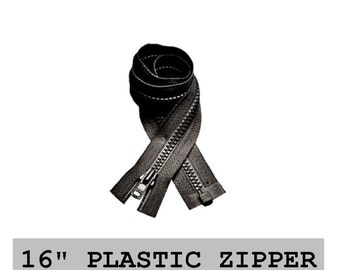 "10 Zippers - 16"" - YKK Molded Plastic - 16 inch - Open Bottom, Black - SEPARATING ZIPPERS"