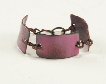 Enamel on Copper Bracelet , Copper Cuff Handcrafted Bracelet