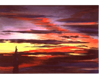 From Sandia, An Original Abstract Sunset Painting, 32 by 46 inches