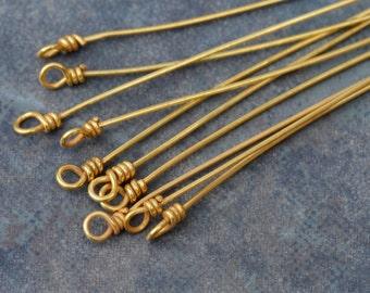 2 Bali Vermeil 22gauge Twisted Rope Headpins - 75mm