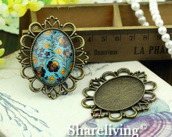 2pcs 30x40mm Antique Bronze Cameo Base Setting Pendant / Charm AS325