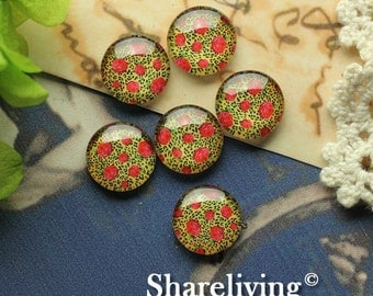 Glass Cabochon, 8mm 10mm 12mm 14mm 16mm 20mm 25mm 30mm Round Handmade photo glass Cabochons ( Rose )   -- BCH208G