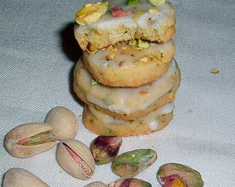 2 Doz Pistachio Shortbread Cookies w/Pistachio Glaze and Sprinkling of Pistachio Nuts