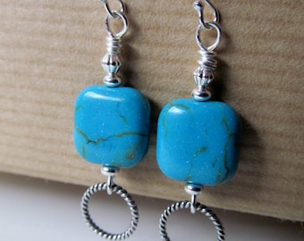 SALE Turquoise Beaded Sterling Silver Earrings