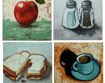 Commission your own four Kitchen paintings 12x12 inches each, by Roz