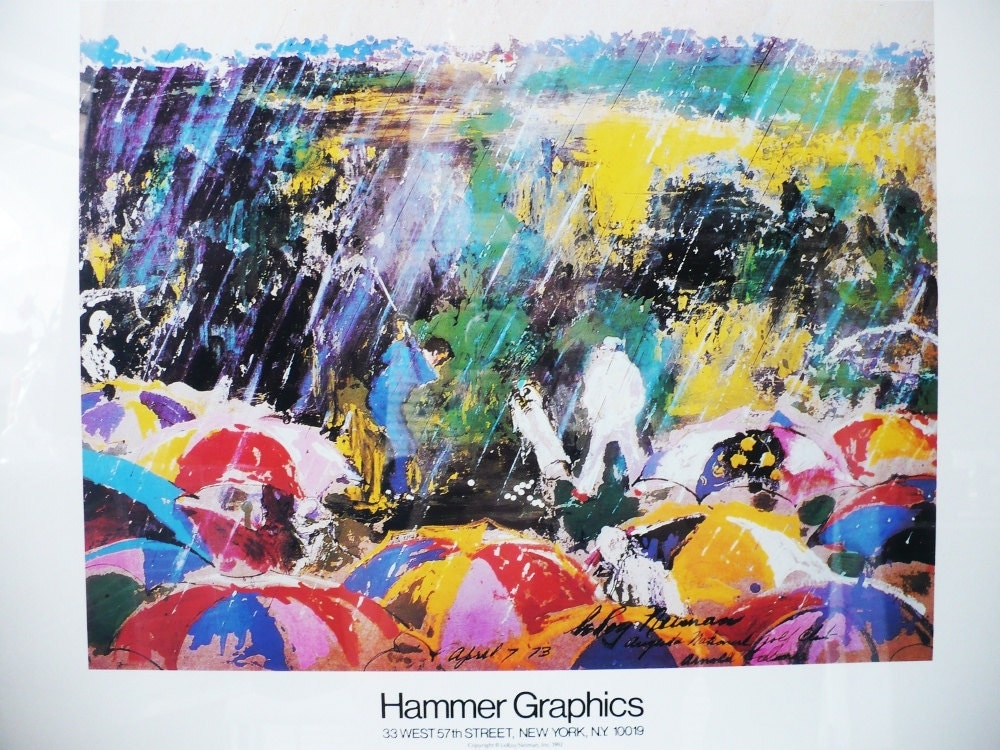 Framed Leroy Neiman Golf Art Print Arnie In The Rain Arnold