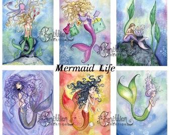 Blank  MERMAIDS Note Mermaid Life from Original Watercolors by Camille Grimshaw