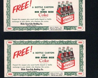 1960 Coke Grocery Coupons on Cardstock  and In Color