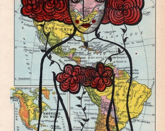Travel Makes Her Blossom- Art print, travel, floral, flowers, red head
