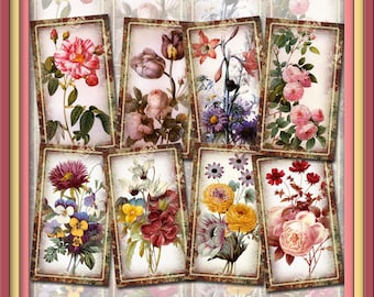 Redoute Art -CHaRMiNG Floral Art Gift/Hang Tags-Vintage Art paper crafts- Printable Collage Sheet JPG Digital File- NeW LoWER PRiCE