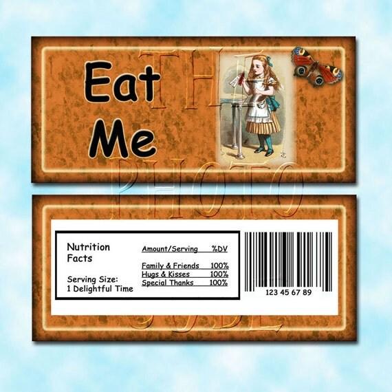 alice in wonderland eat me candy bar wrapper