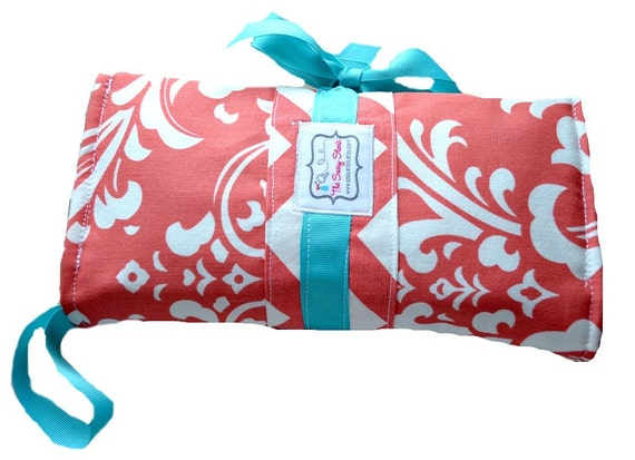 Coral/Turquoise and chevron diaper clutch