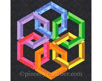 Hexadaisy quilt block pattern, paper pieced quilt patterns, modern quilt design, celtic knot patterns, hexagon quilt patterns
