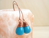 Teal blue Earrings - Copper and  Teal Blue Glass Beads - Handmade Copper Earwires