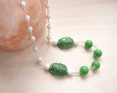 Scarab necklace Beetle necklace  White necklace   Ceramic scarab  Green necklace