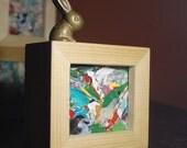 Abstract Art Painting - Mini Modern Mod Original Framed Artwork - Colorful Aqua, Green, Red Yellow, White, Black Artwork