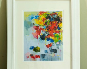 Fine art Prints, Abstract Painting, Oil Painting, Abstract art print, Matted Giclee Print , Wall Art, Wall Décor , Flower Print11x14