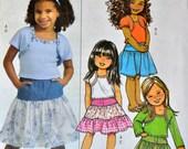Butterick 4969 Girls' Shrug Top Skirt Size  6-7-8  Uncut Complete
