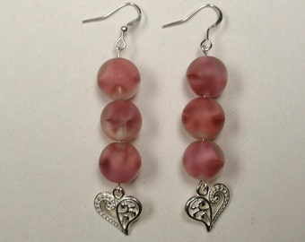 Pink frosted bead earrings - set of two