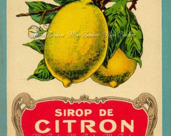 Digital Download of Large 8x10 Vintage French Sirop de Citron Label - DIY You Print Art Transfers - Instant Download