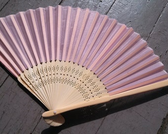 PINK SILK Bamboo Fan- Ready to Decorate