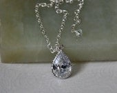 Bridal Necklace, CZ Cubic Zirconia, Sterling Silver, Pendant Necklace, Wedding Jewelry, Bridal Jewelry, Adjustable Chain