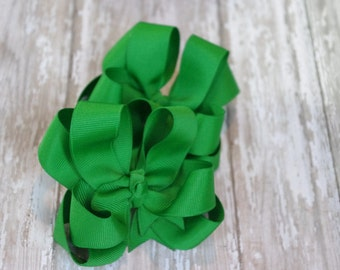 """Girls Hair Bows Emerald Green Boutique 3"""" Double Layer Hairbows Set of 2 Pigtail Bows"""