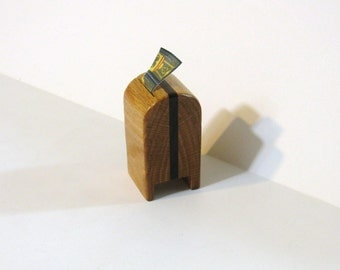 Stamp Dispenser  Made Of Oak And Walnut Hardwood