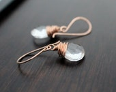 Rock Crystal Quartz  Earrings in Rose Gold filled, Wire Wrapped, April Birthstone Substitute