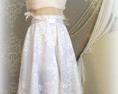 White Circle Skirt, JULIETTE,Easter, Rehersal Dinner, evening, Honeymoon,. roses, Prom, sheer,Bridal White - tamilyn
