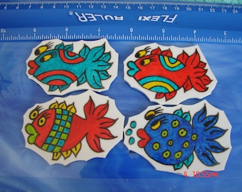 Mosaic Tiles DOODLE FISH 4 Mosaic Tile