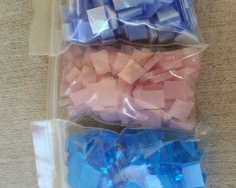 Mosaic Tiles 300 BLUES n PINK Stained Glass Mosaic Tile