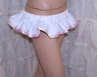 Pastel Baby Pink and White Shiny PVC Pleather Micro Mini GoGo Skirt all sizes MTCoffinz
