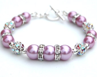 Mauve Pearl Rhinestone Bracelet, Bridesmaid Jewelry, Bridesmaid Gifts, Wedding Party